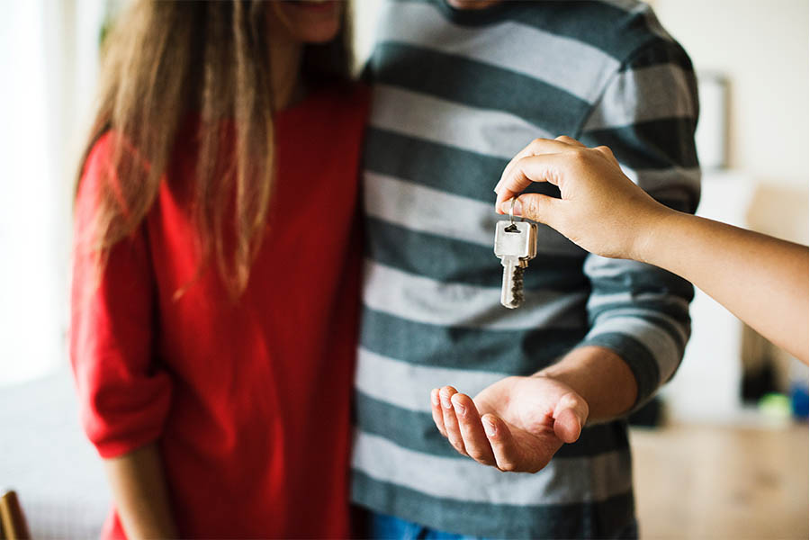 Homeowner getting keys to home
